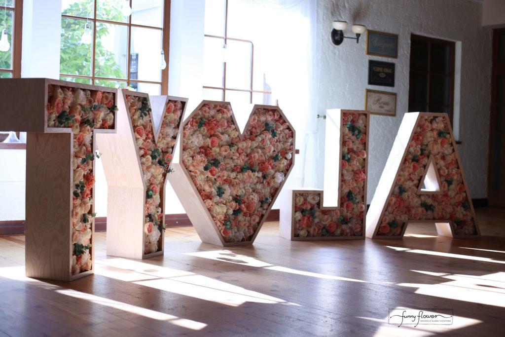 Napis kwiatowy brzoskwiniowy Funny Flower